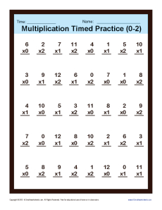Timed Multiplication Worksheets 0 – 2 | Printable Practice Sheets