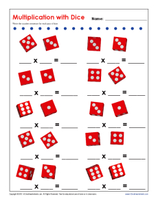Multiplication Dice | Printable Multiplication Facts Worksheets