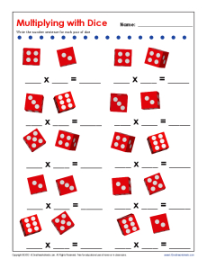 math worksheet : multiplying with dice  multiplication facts worksheets for practice : Multiplication Games Worksheet