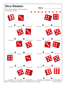 math worksheet : dice division  free printable math worksheets : Math Sentences Worksheets