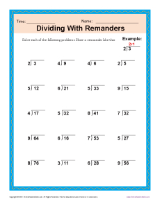 math worksheet : dividing with remainders  free printable math worksheets : Division With Remainders Worksheets