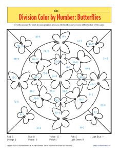 Color by Number: Butterflies | Printable Division Worksheets