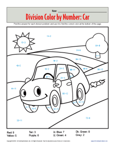 Color by Number Car Printable Division Worksheets
