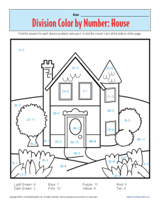 Color by Number: House | Printable Division Worksheets