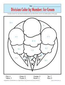 Color by Number: Ice Cream | Printable Division Worksheets