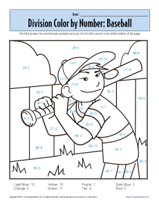 Color by Number BaseBall Printable Division Worksheets