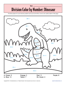 Color by Number: Dinosaur | Printable Division Worksheets