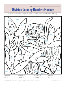 division facts coloring page color by number monkey printable division worksheets