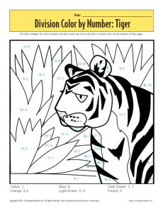 color by number tiger printable division worksheets. Black Bedroom Furniture Sets. Home Design Ideas