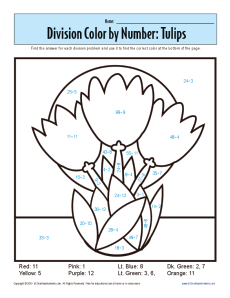 Color by Number: Tulips | Printable Division Worksheets