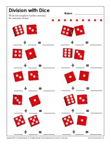 math worksheet : division with dice  free printable math worksheets : Dice Addition Worksheet