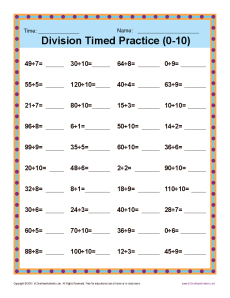 math worksheet : division timed drill 0 10  printable math worksheets : Multiplication Facts Worksheets 0 10