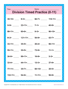 Division Timed Drill 0-11 | Printable Math Worksheets