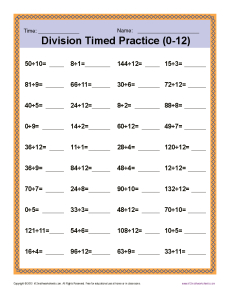 math worksheet : division timed drill 0 12  printable math worksheets : Multiplication Worksheets 0 12
