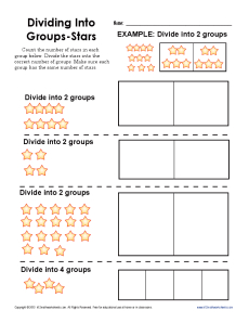 Dividing Into Groups: Stars | Printable Division Worksheets