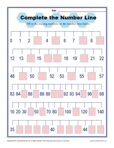 Complete the Number Line | Number Line Worksheets