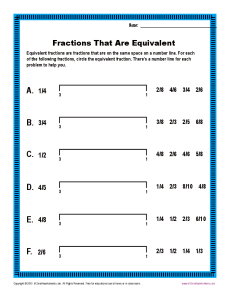 Fractions That Are Equivalent | Fractions Worksheets