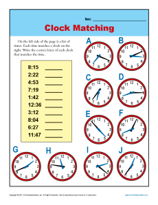 Clock Matching | 3rd Grade Telling Time Worksheets