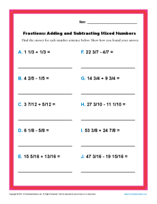 Fourth grade adding and subtracting mixed numbers worksheets