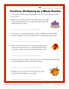 Multiplying by a Whole Number | Fractions Worksheets