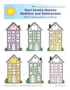 math worksheet : fact family worksheets  addition and subtraction with houses : Fact Family Math Worksheets