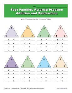 Worksheets Fact Family Worksheets fact family worksheets addition and subtraction with pyramids math worksheets