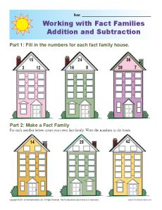 math worksheet : fact family worksheets  addition and subtraction : Math Fact Family Worksheets