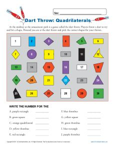 Dart Throw: Quadrilaterals | 3rd Grade Geometry Worksheets