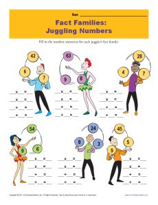 Fact Family Worksheets | Juggling Numbers