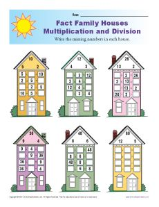 math worksheet : fact family worksheets  multiplication and division with houses : Fact Families Multiplication And Division Worksheet
