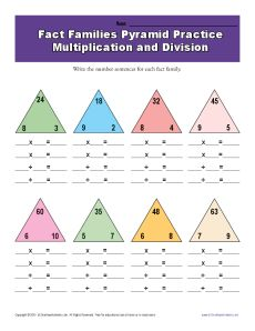 Worksheets Fact Family Worksheets 3rd Grade fact family worksheets multiplication and division with pyramids math worksheets