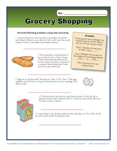 math worksheet : grocery shopping  6th grade ratio worksheets : K12 Math Worksheets