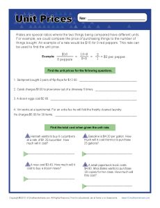 Printables Unit Rate Worksheet find the unit prices 6th grade ratio worksheets get worksheet