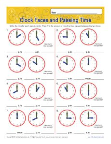 clock_faces_passing_time get worksheet - Elapsed Time Worksheet