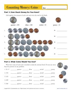 Coins | Counting Money Worksheets for 2nd Grade