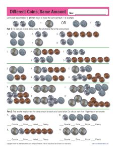 Different Coins, Same Amount | Counting Money Worksheets