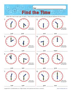 find the time get worksheet - Elapsed Time Worksheet