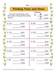 finding tens and ones  place value worksheets for st grade