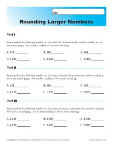 Rounding Larger Numbers Place Value Worksheets For 4th Grade