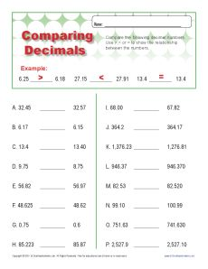 math worksheet : comparing decimals  decimal place value worksheets for 4th grade : Comparing Decimal Worksheet