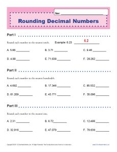 Rounding Decimal Numbers | Decimal Place Value Worksheets for 5th ...