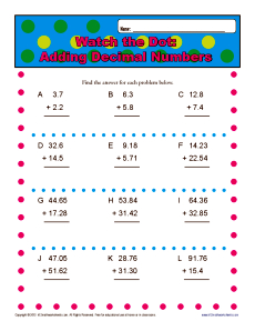 math worksheet : adding decimal numbers  5th grade math worksheets : 6th Grade Math Worksheets Decimals