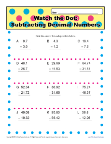 subtracting decimal numbers  th grade math worksheets