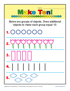 Make Ten! Addition| Kindergarten Math Worksheets