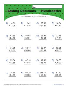 math worksheet : adding decimals  hundredths  decimal worksheets : Math Worksheets Adding Decimals