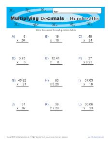 Maths decimals worksheets for 6th grade