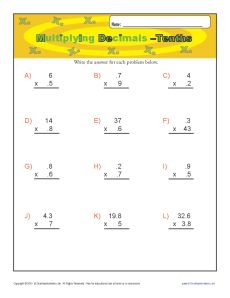 math worksheet : multiplying decimals  tenths  decimal worksheets : Multiplying Decimal Worksheet