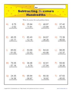 math worksheet : subtracting decimals  hundredths  decimal worksheets : Subtracting Decimals Worksheet