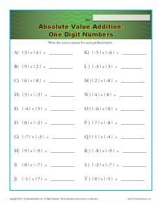 Absolute Value Worksheet - Addition