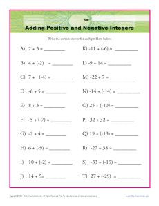 math worksheet : adding positive and negative integers  interger worksheets : Addition Integers Worksheet